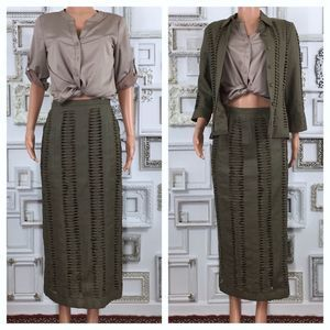 JSong Hunter Green Linen Skirt Jacket Set